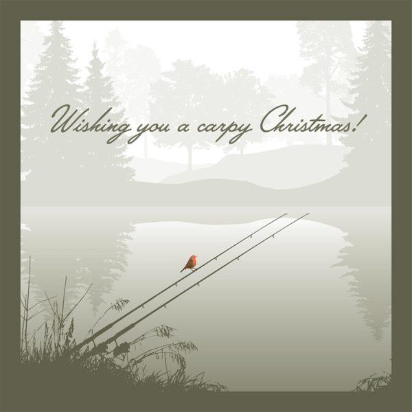 Christmas card gift fisherman handwritten winter scene